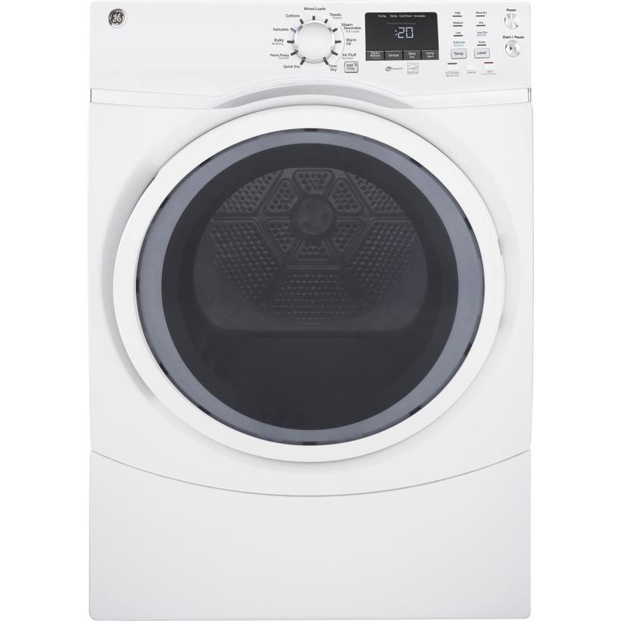 GE 7.5-cu ft Stackable Electric Dryer (White) ENERGY STAR