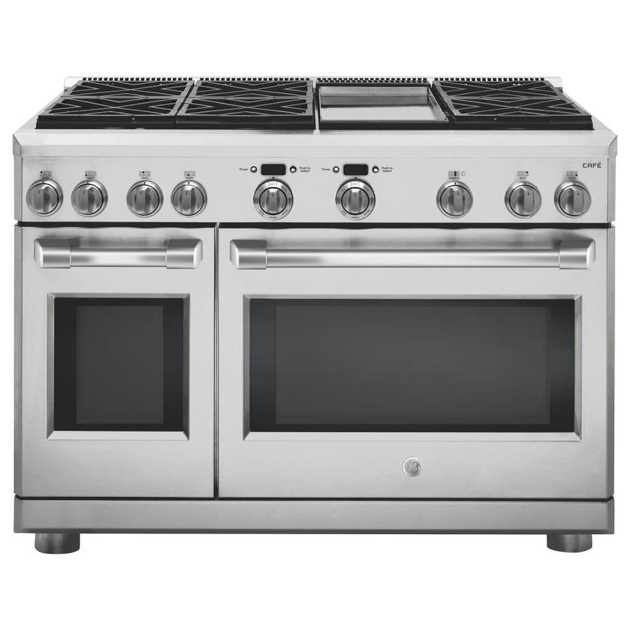 GE Cafe Professional 6-Burner Freestanding 8.25-cu ft Self-cleaning Convection Gas Range (Stainless Steel) (Common: 48 Inch; Actual: 47.875-in)