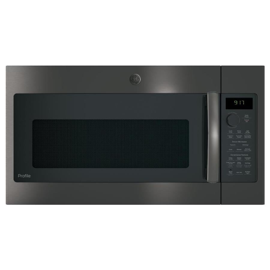 GE Profile 1.7-cu ft Over-the-Range Convection Microwave with Sensor Cooking Controls (Black Stainless) (Common: 30 -in; Actual: 29.875-in)