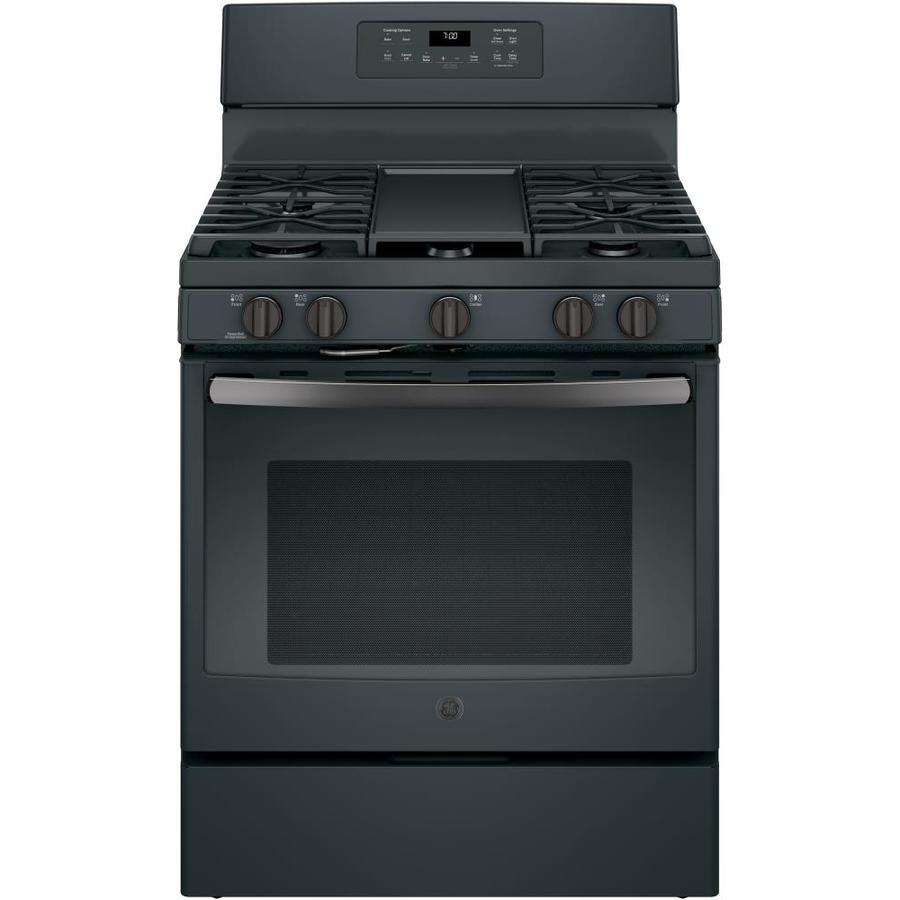 GE 5-Burner Freestanding 5-cu ft Self-Cleaning Convection Gas Range (Black Slate) (Common: 30-in; Actual: 30-in)