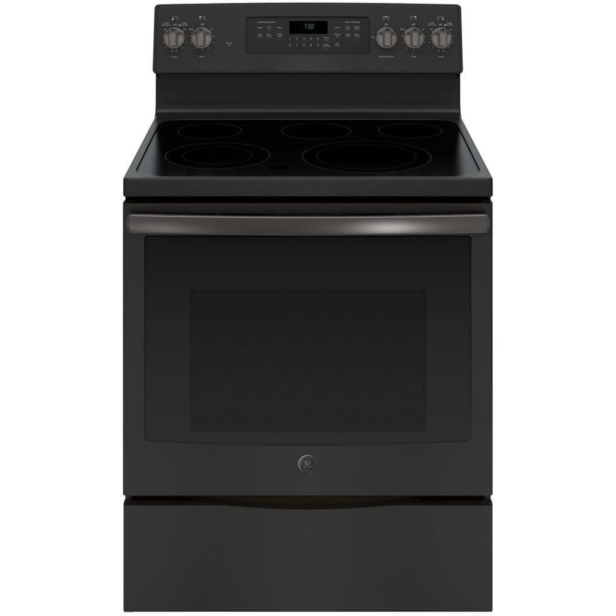 GE Smooth Surface Freestanding 5-Element 5.3-cu ft Self-Cleaning Convection Electric Range (Black Slate) (Common: 30-in; Actual: 29.875-in)