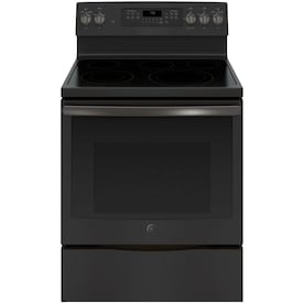 GE Smooth Surface 5-Element 5.3-cu ft Self-Cleaning True Convection Freestanding Electric Range (Fingerprint-Resistant Black Slate) (Common: 30-in; Actual: 29.875-in)