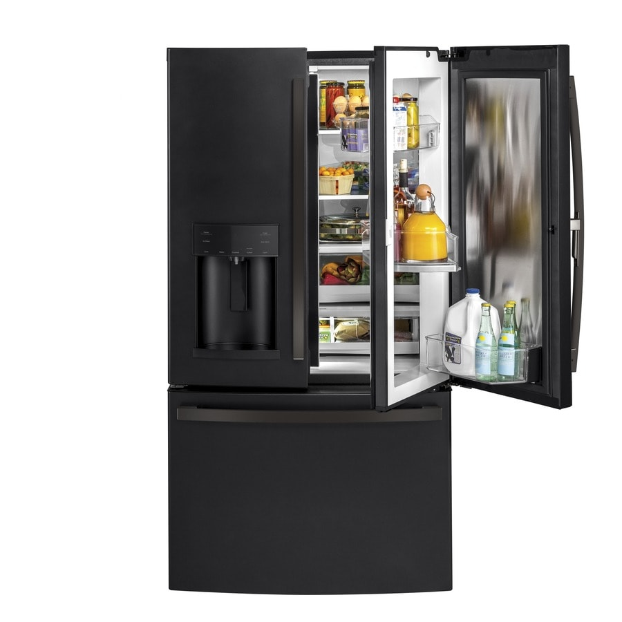 shop ge 27 8 cu ft french door refrigerator with ice maker and door within door fingerprint. Black Bedroom Furniture Sets. Home Design Ideas