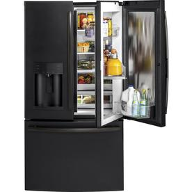 GE 27.8-cu ft French Door Refrigerator with Ice Maker and Door within Door (Fingerprint-Resistant Black Slate)