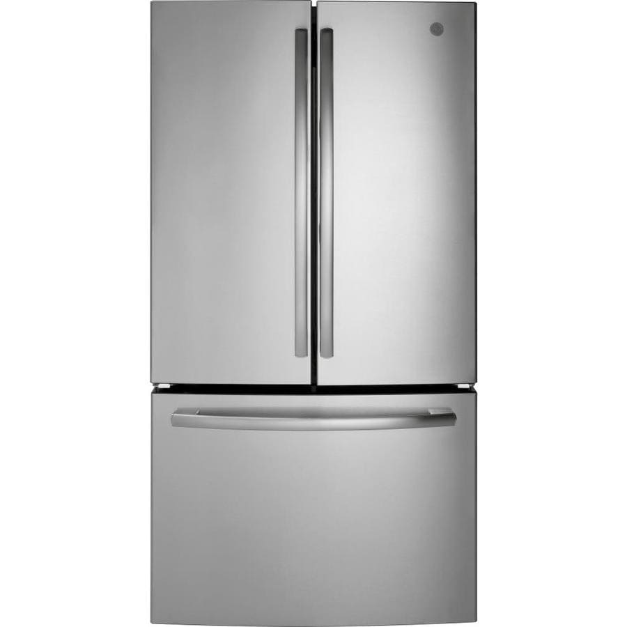 Shop ge 27 cu ft french door refrigerator with ice maker stainless steel energy star at for Ge exterior refrigerator icemaker filter