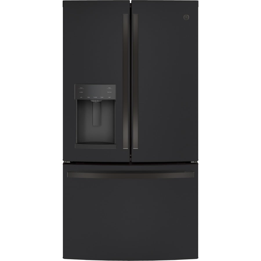 Shop Ge 27 8 Cu Ft French Door Refrigerator With Ice Maker Fingerprint Resistant Black Slate