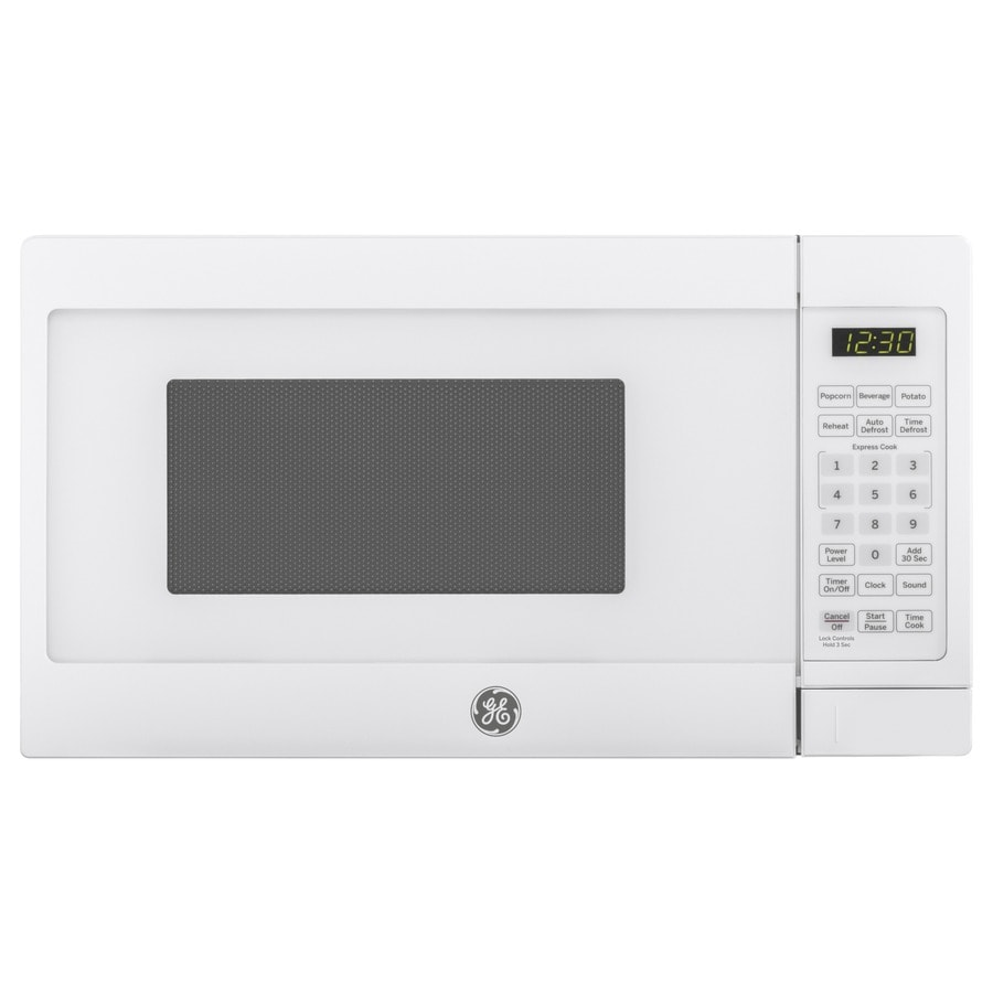 Ge 0 7 Cu Ft 700 Watt Countertop Microwave White In The Countertop Microwaves Department At Lowes Com