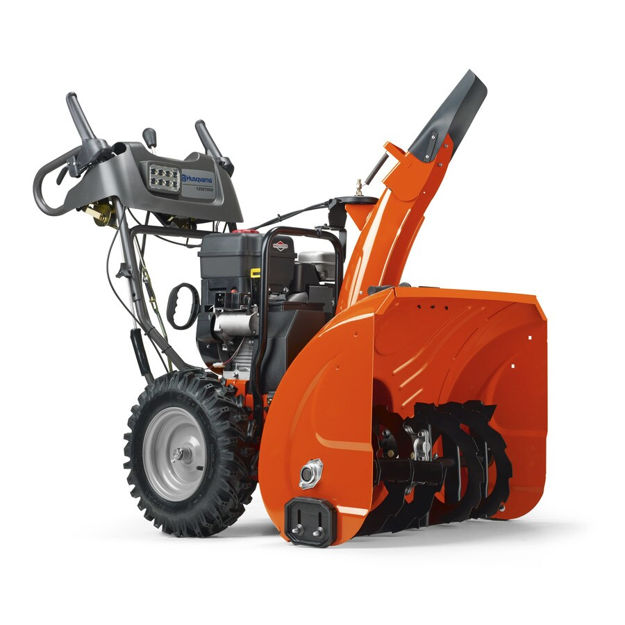 Husqvarna 250cc 27-in Two-Stage Electric Start Gas Snow Blower with Headlights