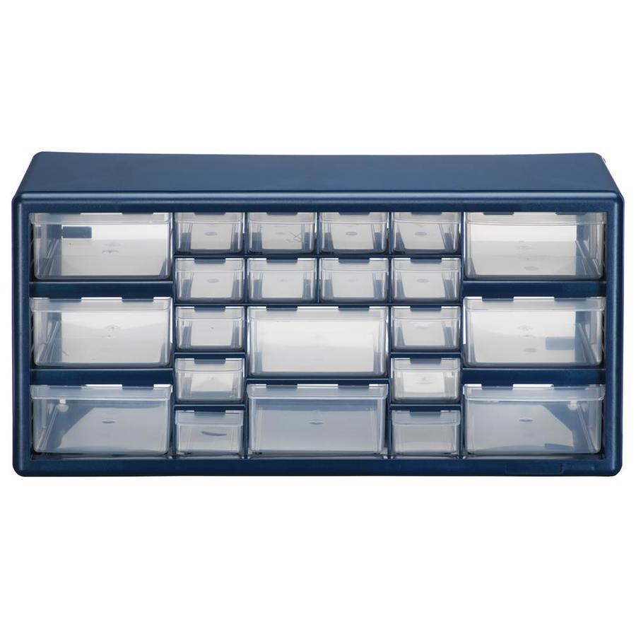 Stack-On 19.38-in x 9.62-in 22-Drawer Blue Plastic Drawer