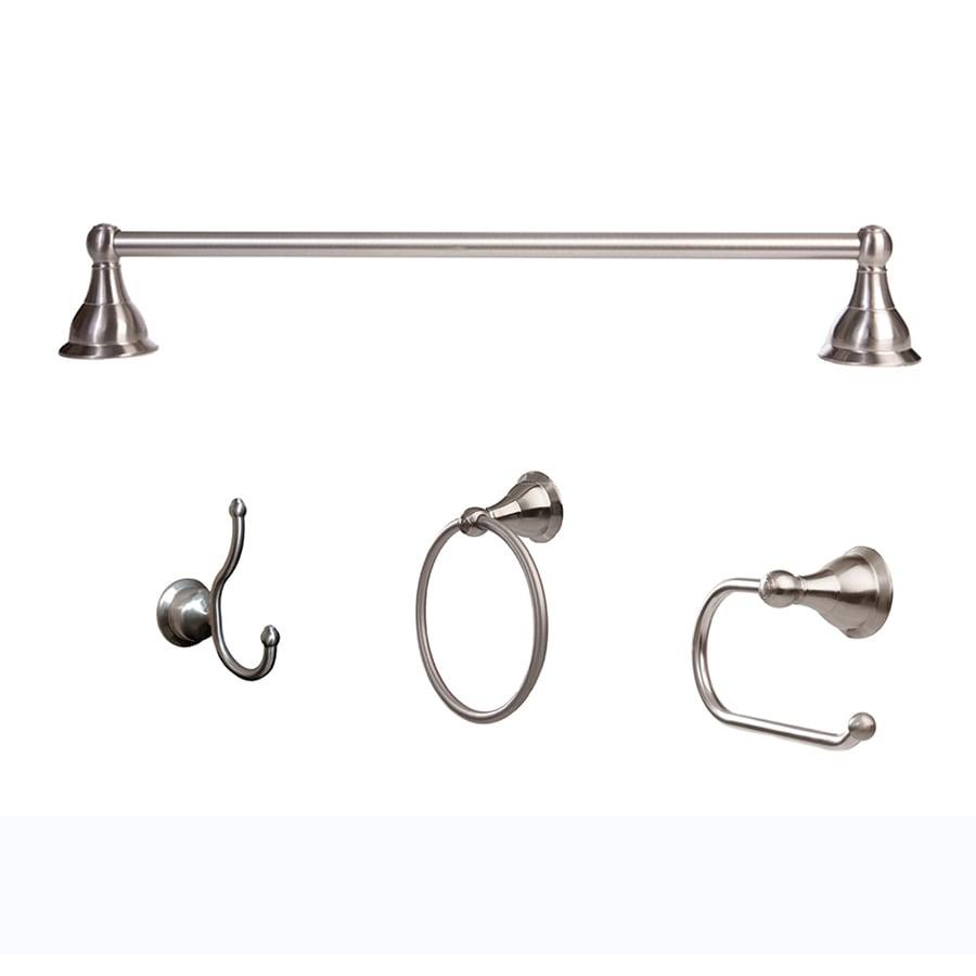 Shop arista 4 piece summit satin nickel decorative for Decorative pieces for bathroom