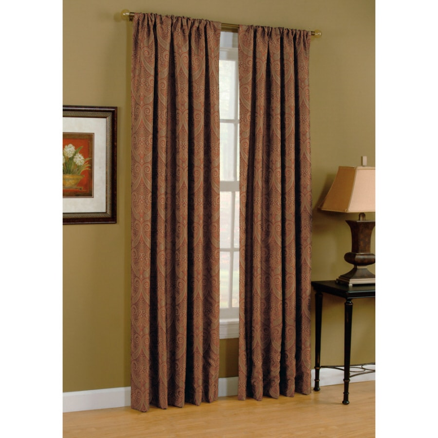 Style Selections Raja 84 In Paprika Polyester Rod Pocket Light Filtering Standard Lined Single Curtain