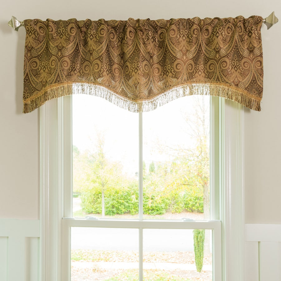 Style Selections Raja 16-in Mocha Polyester Rod Pocket Valance