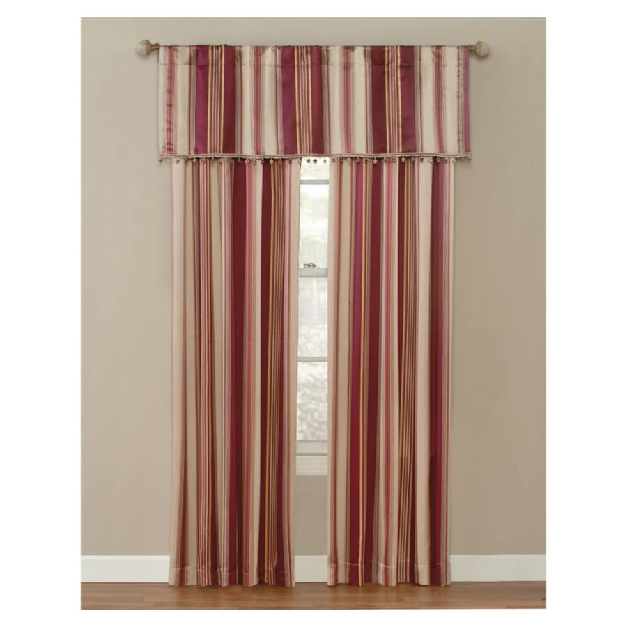 Style Selections Staccato Striped 84-in L Striped Burgundy Rod Pocket Curtain Panel