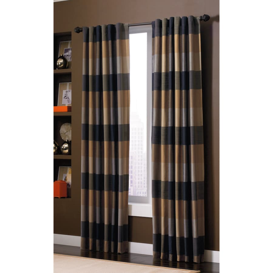 allen + roth Emilia 84-in Onyx Polyester Back Tab Light Filtering Standard Lined Single Curtain Panel