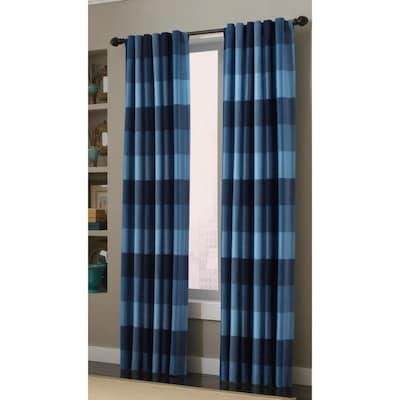 Emilia 84-in Blue Polyester Back Tab Light Filtering Standard Lined Single  Curtain Panel