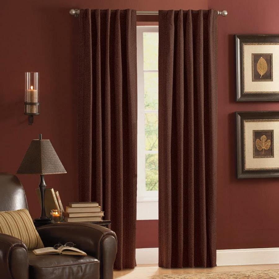 Style Selections Roberta 84-in Mocha Polyester Rod Pocket Room Darkening Thermal Lined Single Curtain Panel