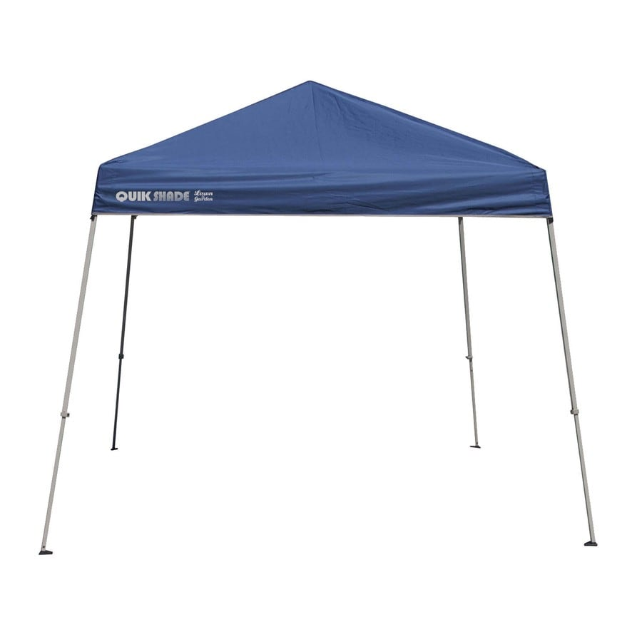 Quik Shade 10-ft W x 10-ft L Square Blue with Gray Frame Steel Pop-Up Canopy