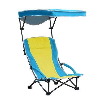 Magnificent Quik Shade Blue And Yellow Folding Beach Chair At Lowes Com Machost Co Dining Chair Design Ideas Machostcouk