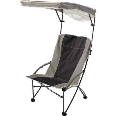 Tan And Black Folding Beach Chair