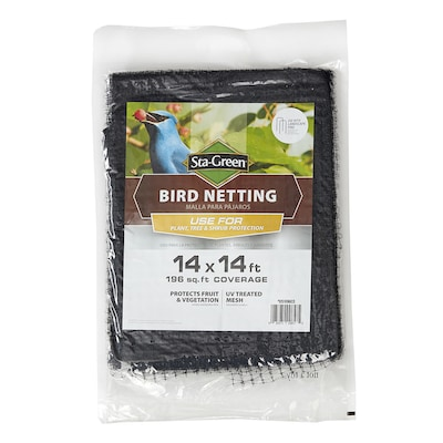 Sta Green Actual 14 Ft X 14 Ft Bird Netting Black Polypropylene
