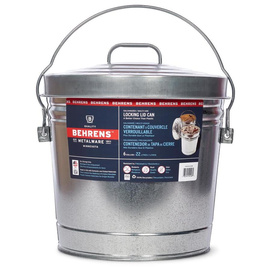 behrens 6gallon galvanized steel trash can with lid
