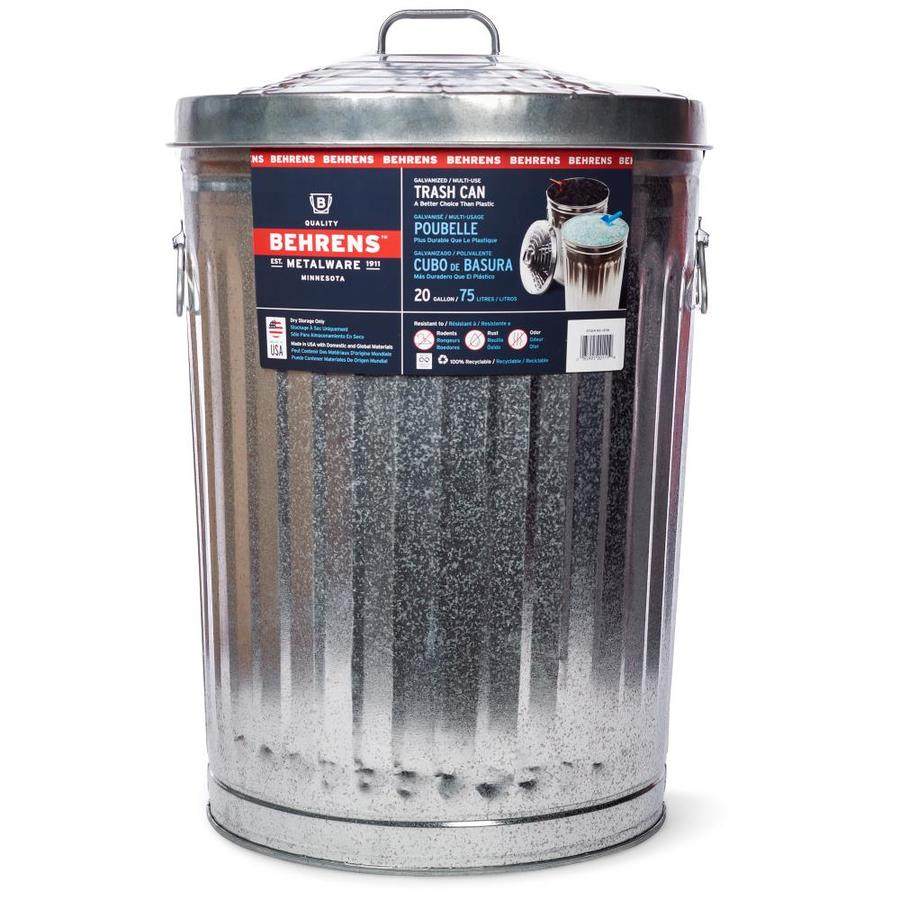 Behrens Steel 20-Gallon Silver/Galvanized Metal Trash Can with Lid
