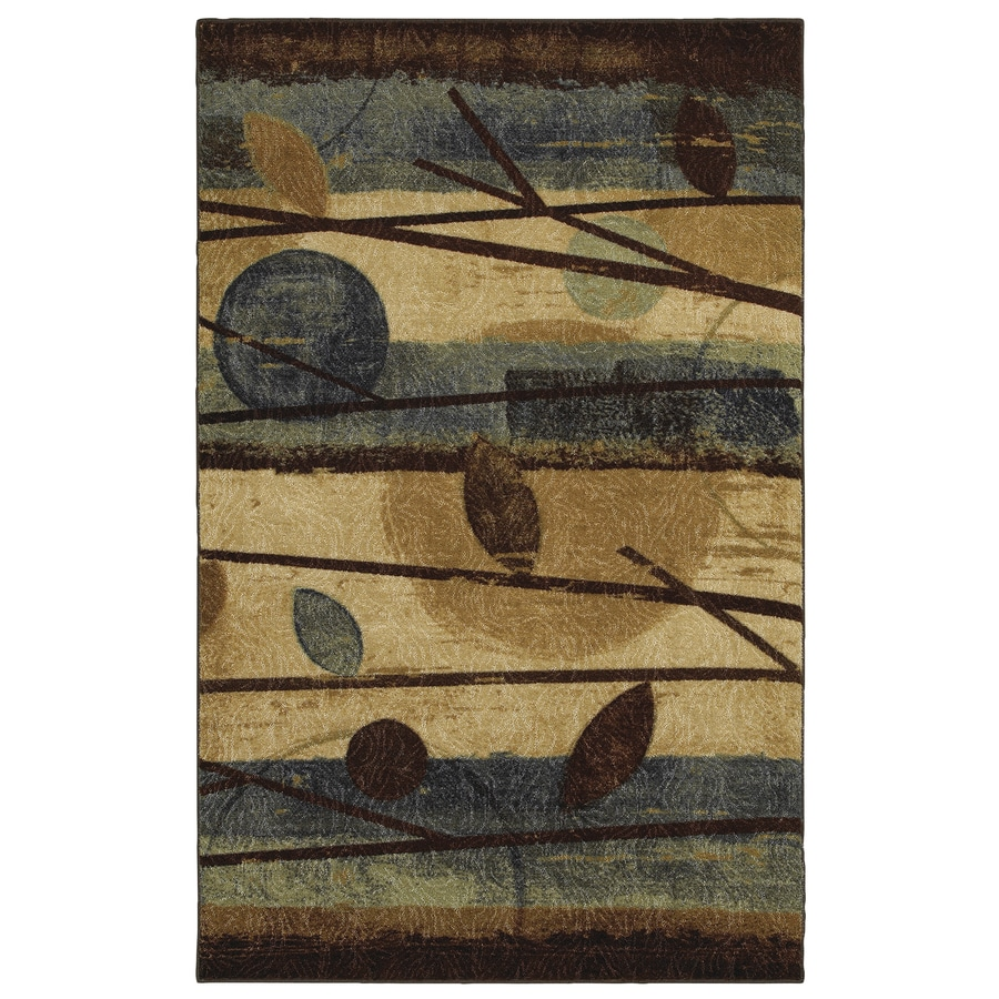 Mohawk Home Modern Forest Cream/Blue Rectangular Indoor Tufted Area Rug (Common: 8 x 11; Actual: 90-in W x 132-in L x 0.5-ft Dia)