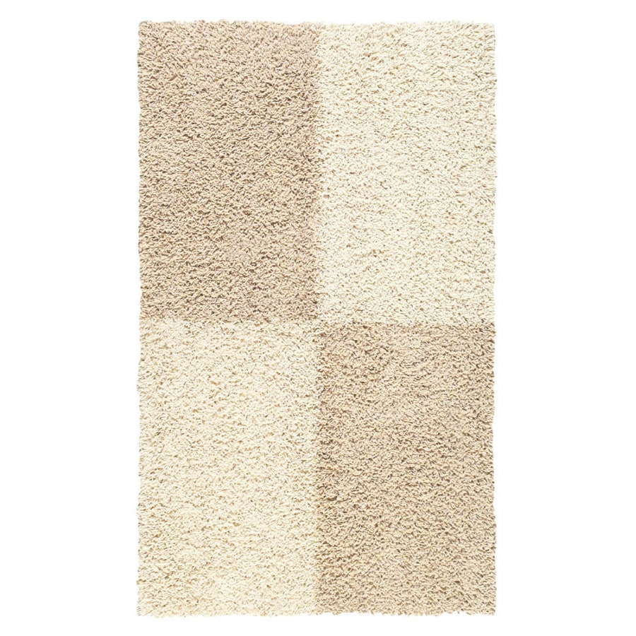Mohawk Home Four Squares White Rectangular Indoor Tufted Throw Rug (Common: 2 x 4; Actual: 2-ft W x 3.5-ft L x 0.5-ft Dia)