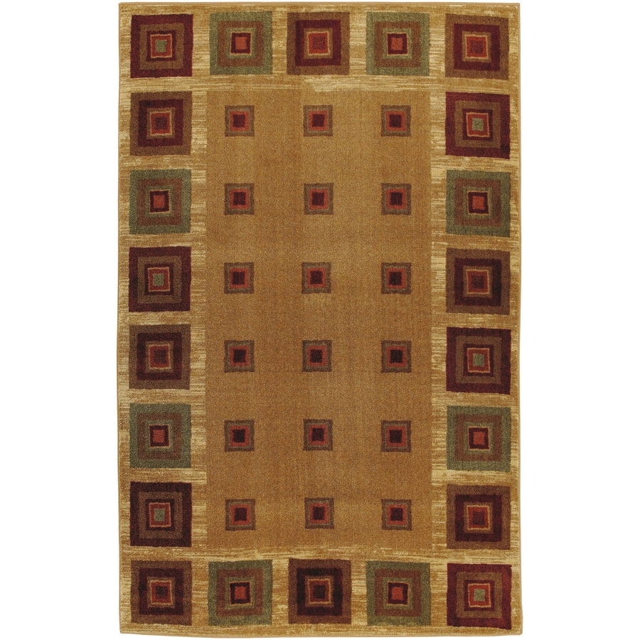Mohawk Home Pinecrest Blocks 5-ft x 8-ft Rectangular Tan Transitional Area Rug