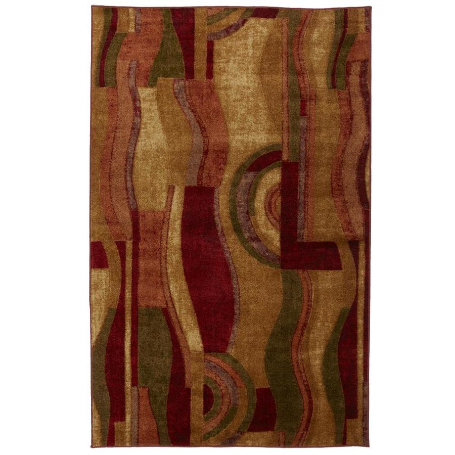Mohawk Home Sediment Wave Earth 5-ft x 8-ft Rectangular Red Geometric Area Rug
