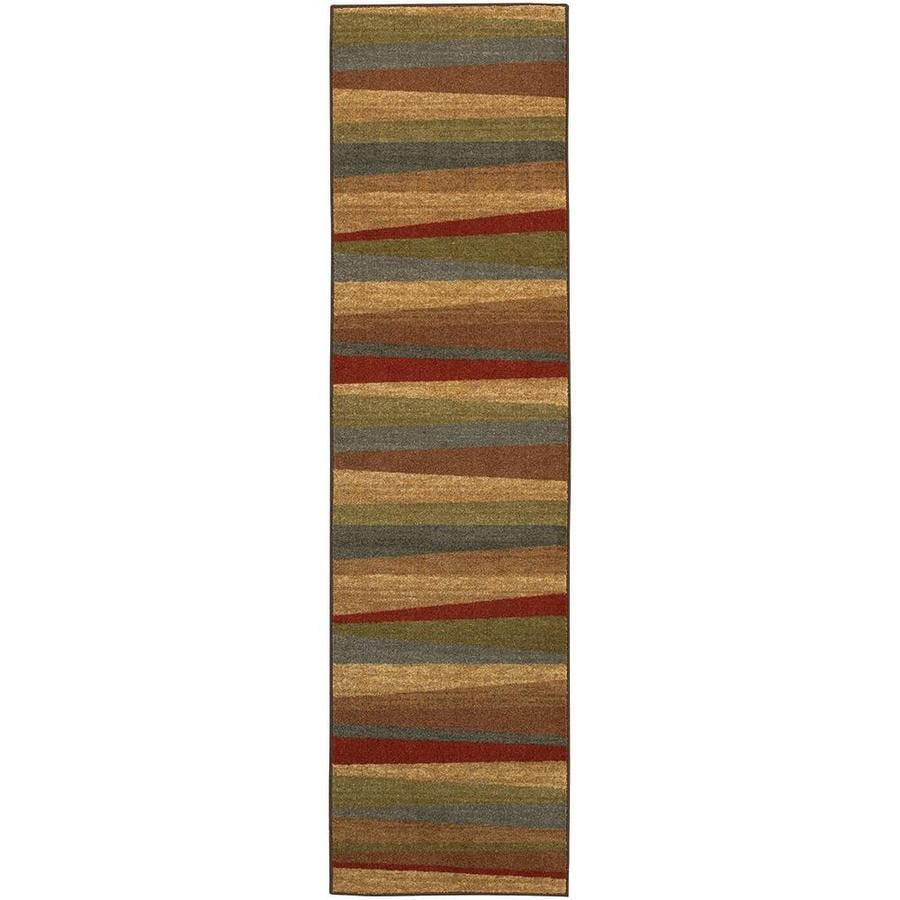 Mohawk Home Hourglass Wave Brown  Indoor  Novelty Runner (Common: 2 x 8; Actual: 2-ft W x 8-ft L x 0.5-ft dia)