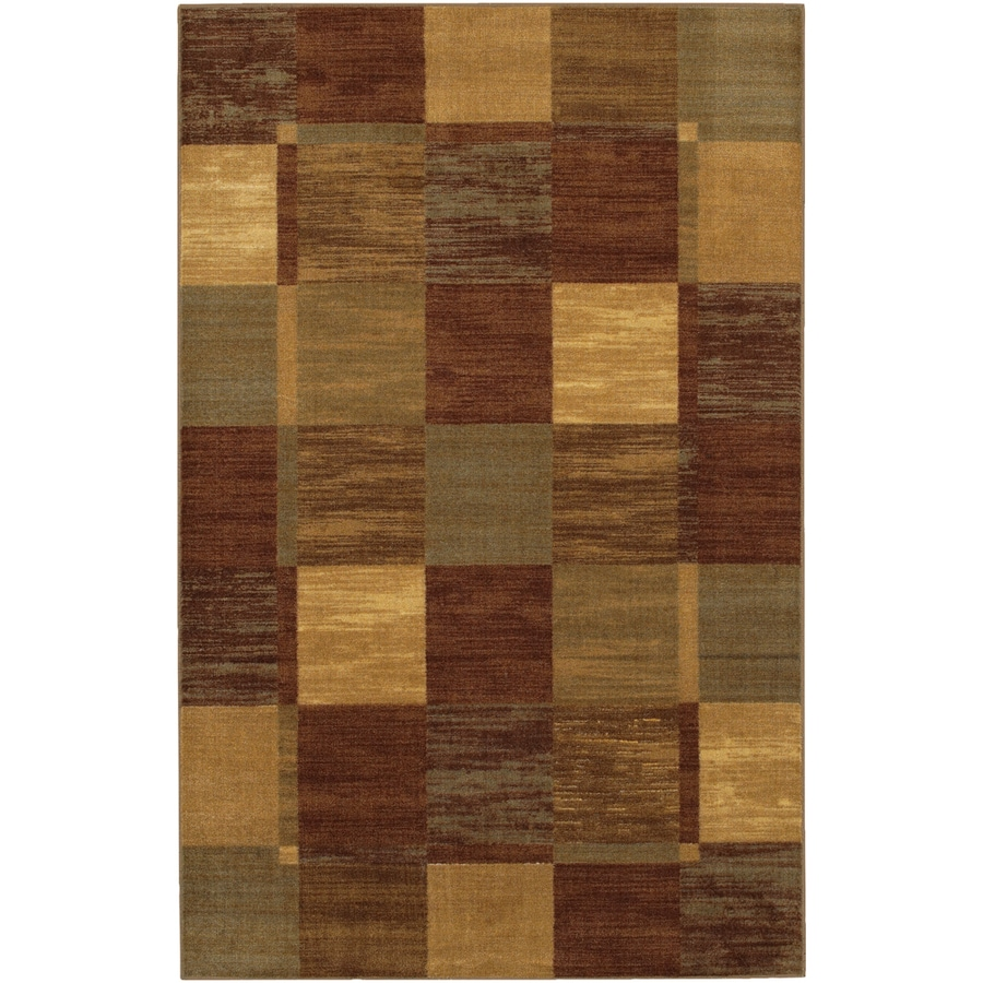 Mohawk Home Simple Squares Brown 5-ft x 8-ft Rectangular Tan Transitional Area Rug