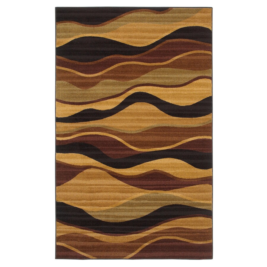 Mohawk Home Earthen Waves 5-ft x 8-ft Rectangular Brown Transitional Area Rug