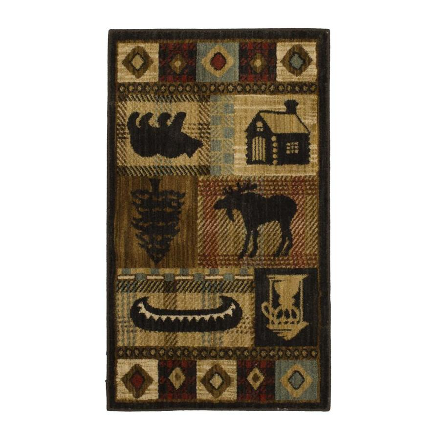 Mohawk Home Westland Lt Dark Brown Brown Rectangular Indoor Woven Throw Rug (Common: 2 x 3; Actual: 2.0833-ft W x 3.6666-ft L x 0.5-ft Dia)