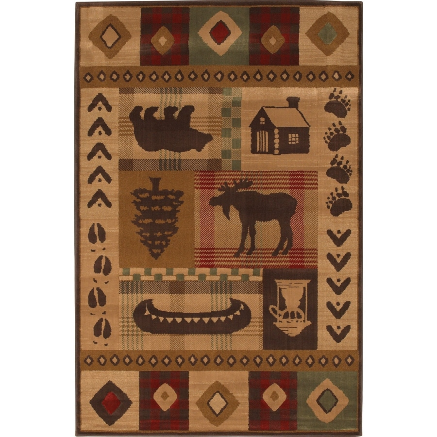 Mohawk Home Westland Lt Dark Brown Brown Rectangular Indoor Machine-Made Inspirational Area Rug (Common: 8 x 11; Actual: 8-ft W x 11-ft L x 0.5-ft Dia)