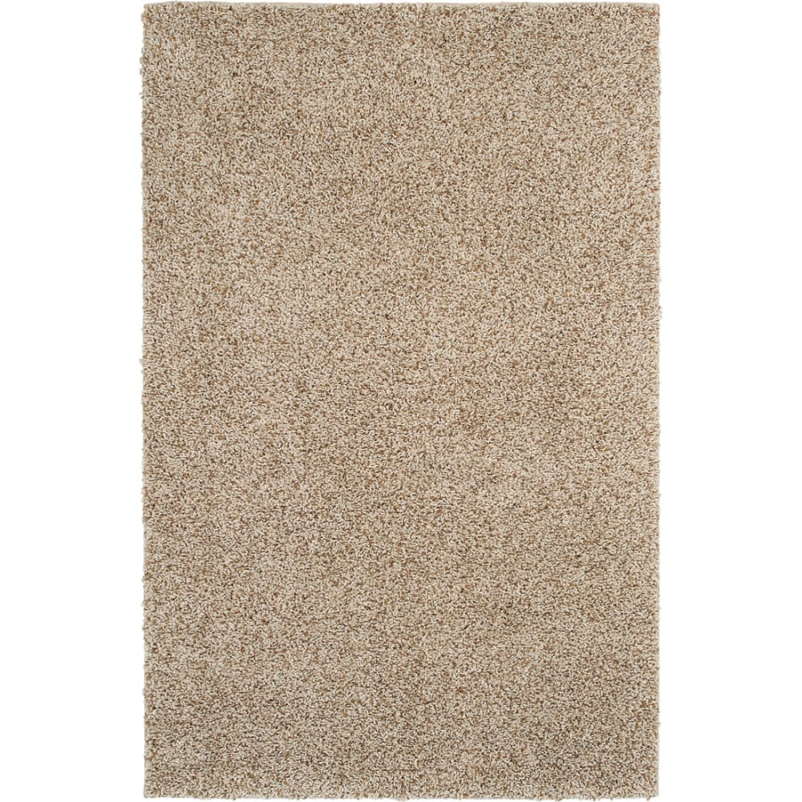 mohawk home kodiak buckskin shag ivory rectangular indoor machinemade area rug common - Mohawk Area Rugs