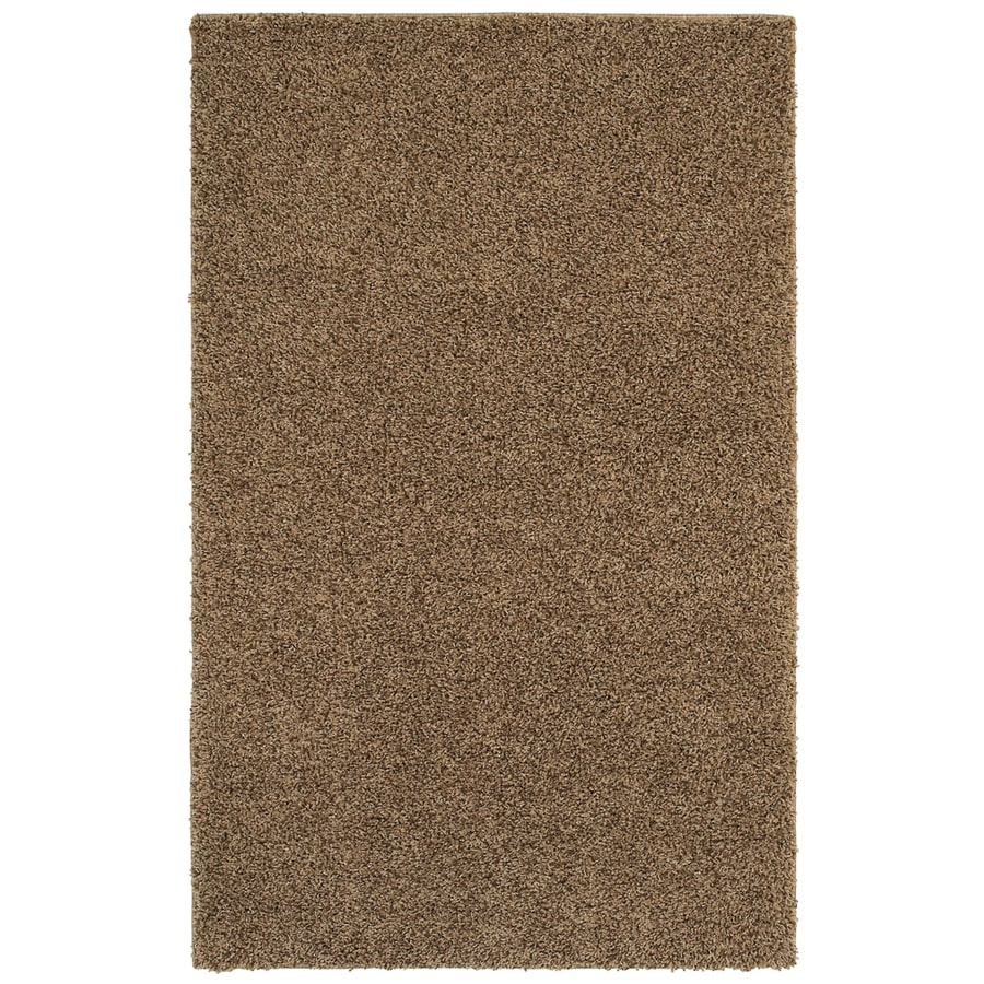 Mohawk Home Kodiak Peanut Patch Shag Brown Rectangular Indoor Tufted Area Rug (Common: 8 x 10; Actual: 8-ft W x 10-ft L x 0.5-ft Dia)