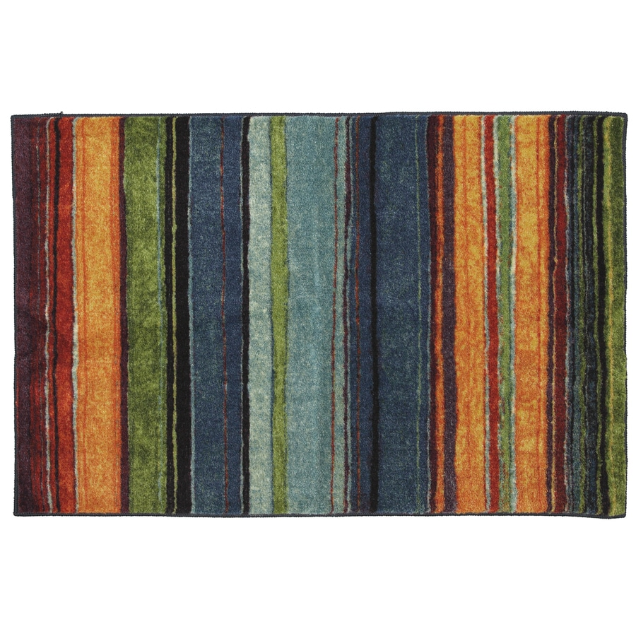 Mohawk Home Carnival Stripe Blue Rectangular Indoor Machine-Made Inspirational Throw Rug (Common: 2 x 4; Actual: 2.5-ft W x 3.83-ft L x 0.5-ft dia)