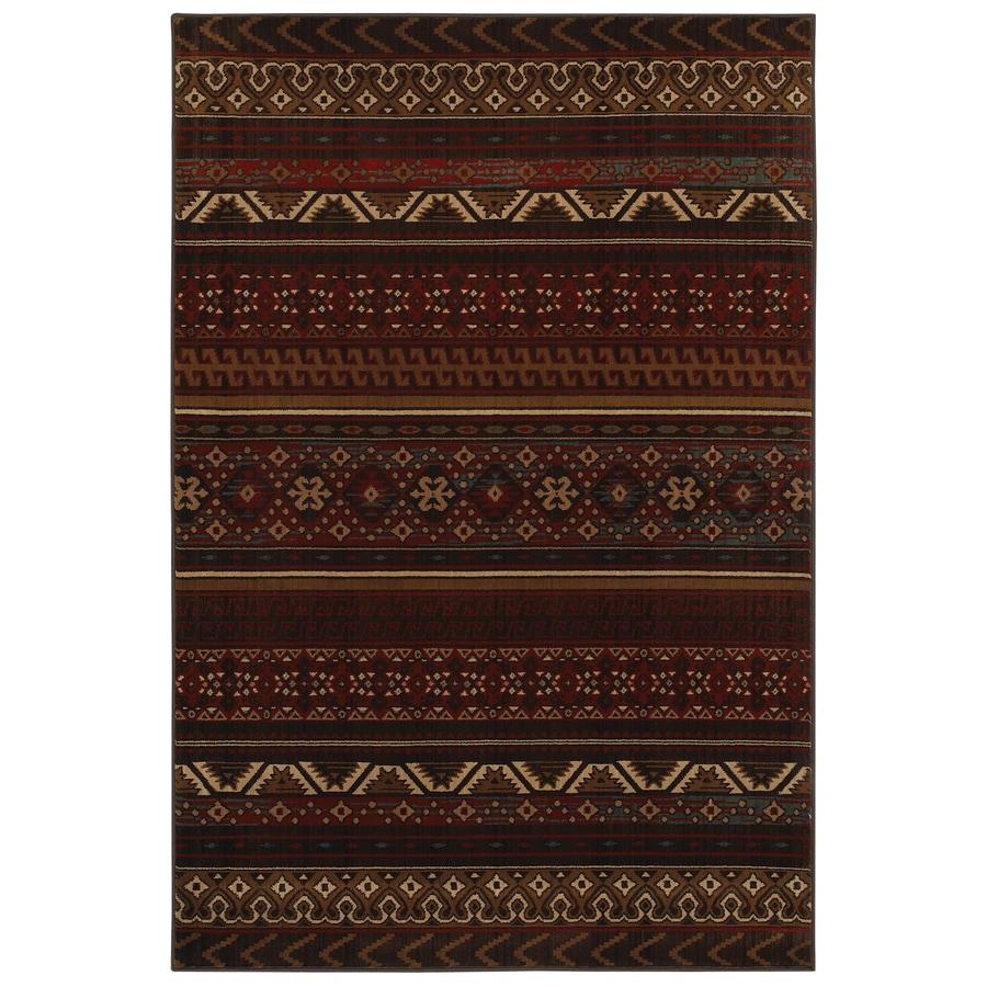 Mohawk Home Cedar Run Dark Brown Red Rectangular Indoor Woven Area Rug (Common: 5 x 8; Actual: 63-in W x 94-in L x 0.5-ft Dia)