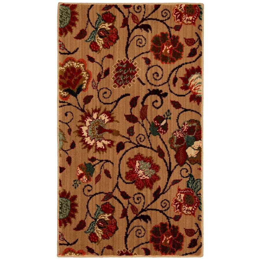 Mohawk Home Eason 25-in x 44-in Rectangular Beige Floral Accent Rug