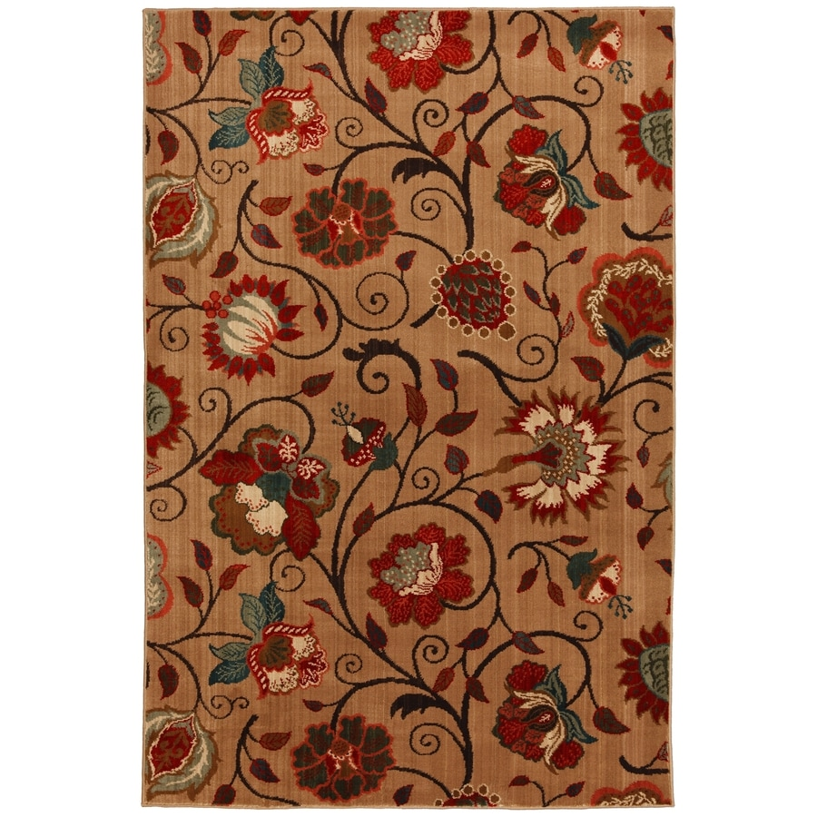 Mohawk Home Eason Md 8-ft x 11-ft Rectangular Beige Floral Area Rug