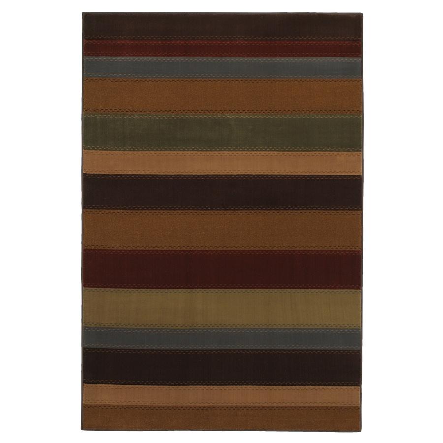 Mohawk Home Albany Stripe Multi 8-ft x 10-ft Rectangular Tan Transitional Area Rug