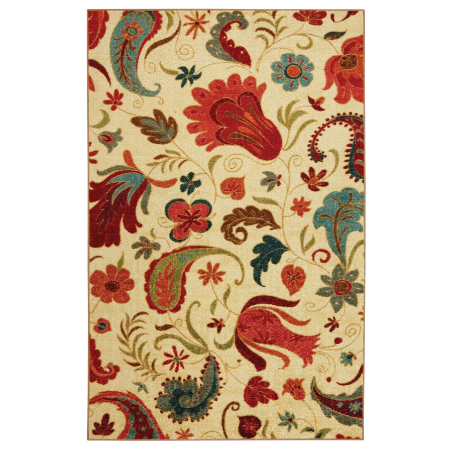 Mohawk Home Tropical Acres Cream Rectangular Indoor Tufted Area Rug (Common: 5 x 8; Actual: 60-in W x 96-in L x 0.5-ft Dia)