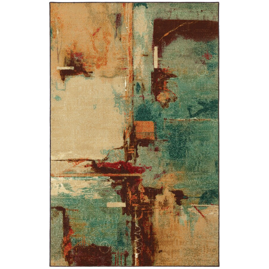 Mohawk Home Aqua Fusion Blue Rectangular Indoor Tufted Area Rug (Common: 8 x 10; Actual: 96-in W x 120-in L x 0.5-ft Dia)