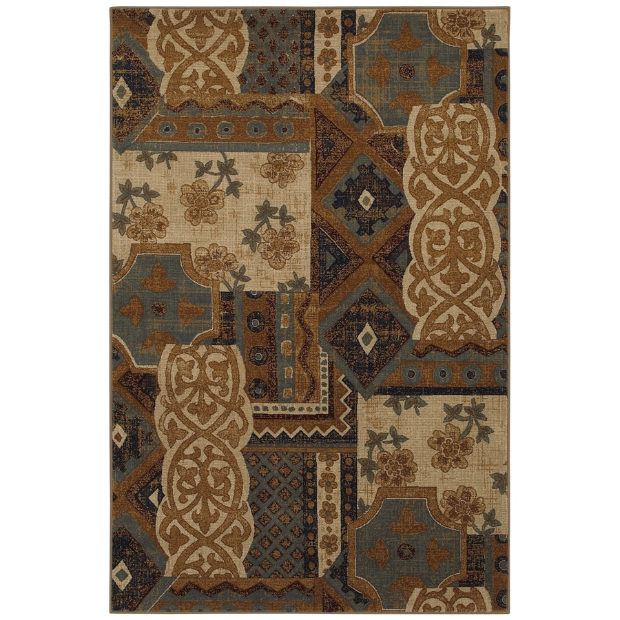 Mohawk Home Select Versailles Royal Entrance Blue Brown Rectangular Indoor Woven Area Rug (Common: 8 x 11; Actual: 96-in W x 132-in L x 0.5-ft Dia)