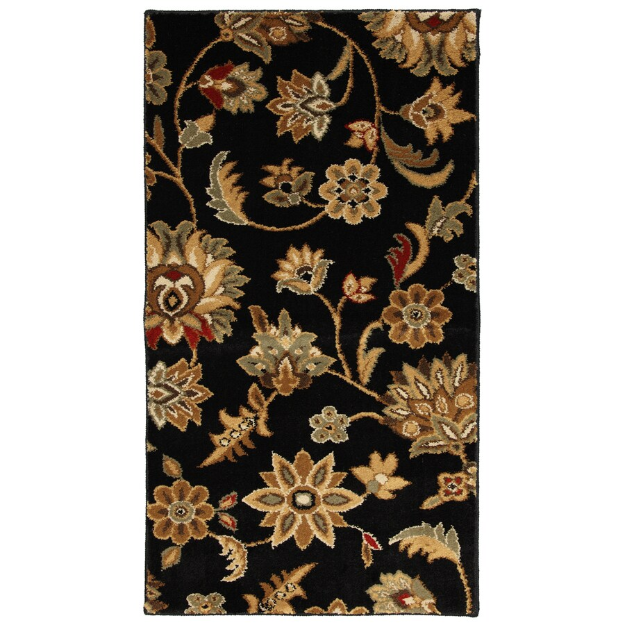 Mohawk Home Blackbourne Black Rectangular Indoor Woven Throw Rug (Common: 2 x 4; Actual: 25-in W x 44-in L x 0.5-ft Dia)
