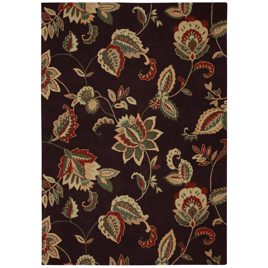 Mohawk Home Beacon A Chocolate Black Rectangular Indoor Hand-Hooked Area Rug (Common: 5 x 8; Actual: 60-in W x 84-in L x 0.5-ft Dia)