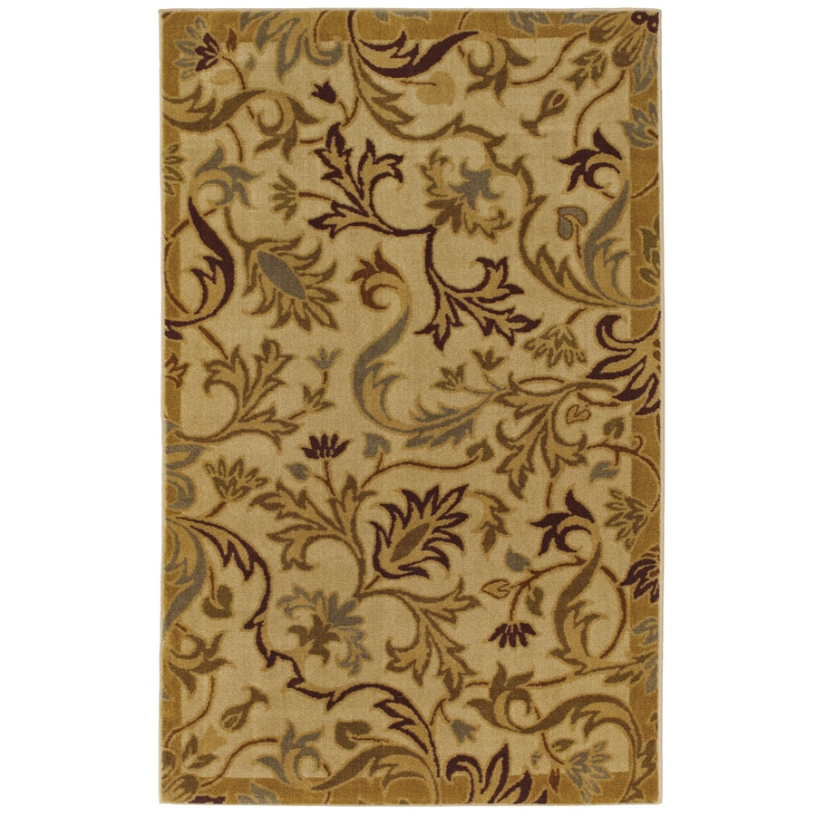 Mohawk Home Naples Floral Beige Brown Rectangular Indoor Tufted Area Rug (Common: 5 x 8; Actual: 5-ft W x 8-ft L x 0.5-ft Dia)