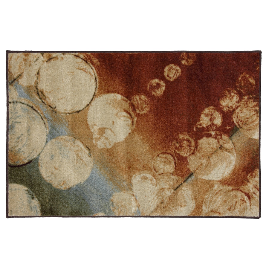 Mohawk Home Prismatic Rain Multi Orange Rectangular Indoor Tufted Throw Rug (Common: 2 x 4; Actual: 2.5-ft W x 3.8333-ft L x 0.5-ft Dia)