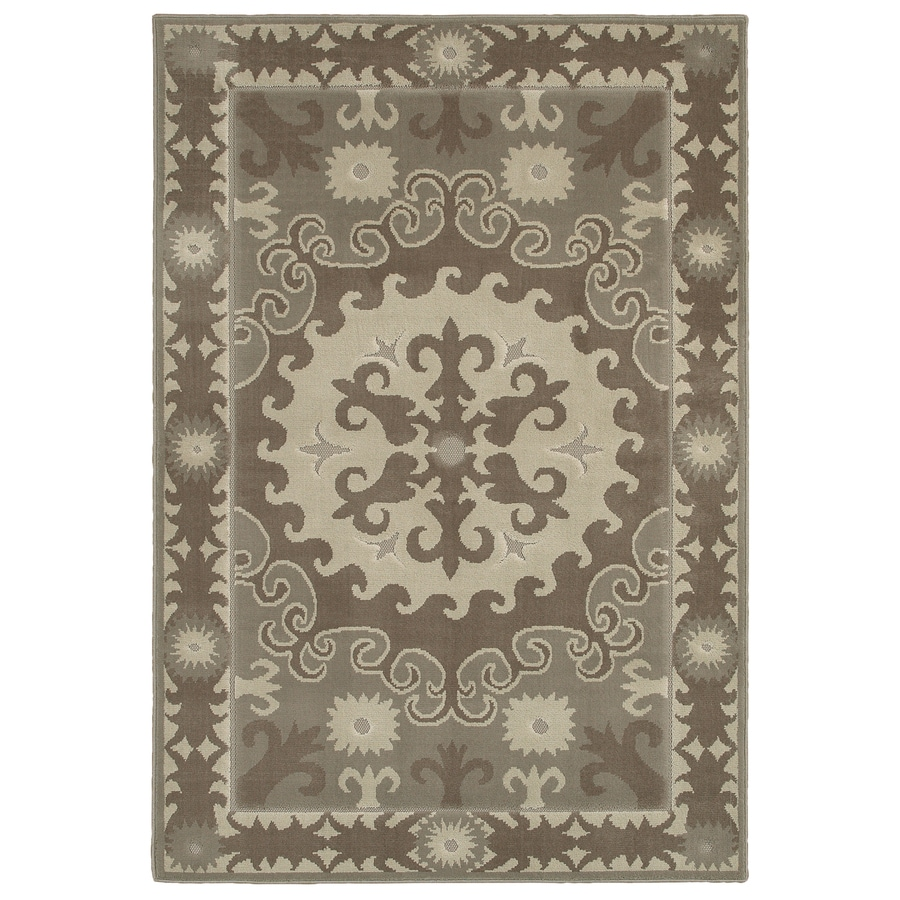 Mohawk Home Valencia Granite Gray Rectangular Indoor Woven Area Rug (Common: 5 x 8; Actual: 63-in W x 94-in L x 0.5-ft Dia)
